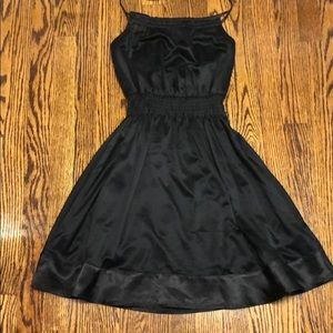 DKNY black silky halter dress. Open back. SM